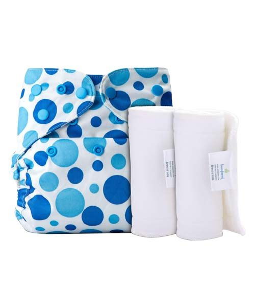 BUMBERRY COVER DIAPER (BLUE DOTS) + 2 WET FREE INSERT